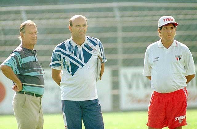 Telê Santana, Waldir Peres e Muricy Ramalho, em 1996. Acervo Gazeta Press